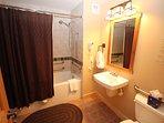 Tub shower combo in bathroom