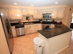Remodeled Kitchen with stainless appliances.