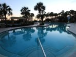 Evening by the Westwinds pool.