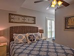 The bright and welcoming master bedroom has a queen bed and en-suite bath.
