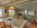You'll love the nautical touches, including beachy decor and exposed beam ceilings!