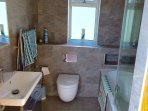 New bathroom with shower, bath, toilet and basin.