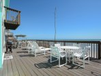 The large oceanfront deck offers plenty of room to relax.