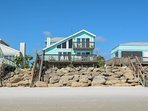 Oceanfront 3 bedroom 2 bath home on the car free beach