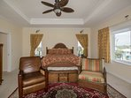 Master bedroom with king sized bed.