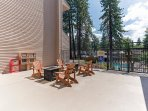 Lounge area near pools with private fire pits