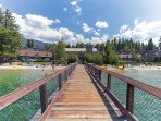 Looking down the private dock to the Lodge and condos