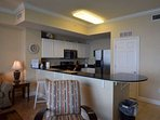Great kitchen area with extra seating!