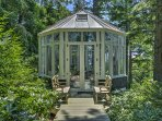 The glass gazebo is a relaxation paradise.