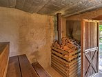 The vintage wood-burning sauna is a perfect way to sweat out toxins.