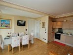 Large kitchen-diner and living space with Flat Screen TV.