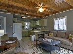 Enjoy the benefits of a full kitchen for home cooked meals. The couch is a queen sleeper sofa.
