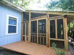 Newly added screened in porch gives wonderful outdoor seating without bugs!