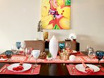 Dine with Mexican glassware and linens
