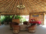 Large palapa provides shade and relaxation area.