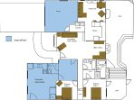 House plan with separate apartment. Each has a private entrance and garden area.