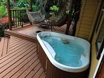 Hot tub with easy use from the deck and bedroom.