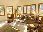 Living room with a ton of natural light from south facing windows.