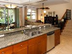Enjoy the company of others while cooking in the open kitchen.