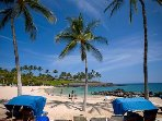 Mauna Lani beach club- white sand, calm waters, perfect to relax in paradise!