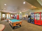 Kids will love playing in the video arcade and game room.