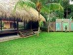 yoga pavilion and lawn area