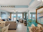 Open Area Living Room and Dining - Enjoy views of the Gulf of Mexico  -