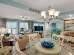 Open Area Living Room and Dining at Pinnacle Port C3-201 - Relax in Style at our Condo!
