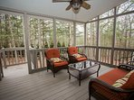 Screened in porch for early morning coffee or evening wine with friends.