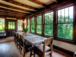 Dining room with beautiful views of the French Broad River and Hot Springs.