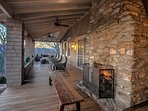 Front porch with lots of seating, a wood burning fireplace and long range views of the mountains and Hot Springs.