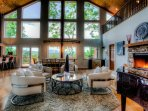 The Whispering Stream Great Room with the gas fire place adding warmth and ambiance and views of the Blue Ridge...