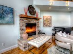 Relax by the gas fireplace in the great  room.