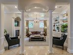 Family Room with Coffered Ceilings