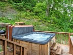 At the end of an active day outdoors, relax in the private hot tub and relish in the surrounding natural beauty.