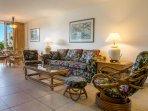 Open spacious floor plan with Hawaiian style furnishings and decor