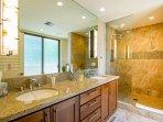Stunning tile work in master bathroom shower