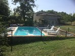 Private pool next to the cottage, fenced and gated, perfect for children