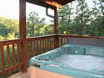 view the mountains from the hot tub