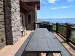 Deck with picnic tables and BBQ grill