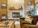 Cozy up next to the fireplace after a ski day