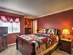 Settle down in this queen bed and fall asleep to your favorite movie, playing from the flat-screen TV.