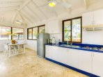 Kitchen and dining area with Ocean View, cealing fans, Free WiFi