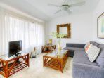 Living room with Amazing Ocean view. Sofa bed for 2 people, cealing fan,TV, Free WiFi