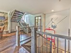 Stairway from Mid-Level to Lower Level Master Bedroom with Private Bath and Laundry Room