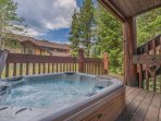 Lower Level Deck with Private Hot Tub and Access to Trail for Ski-out Access
