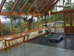 Gym equipment in the conservatory