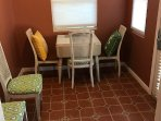 Newly remodeled dining room with expandable table seats 5.