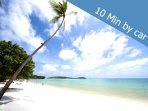 10 minutes by car you can see Chaweng beach . The longest beach at samui and the most popular