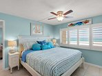 Master Bedroom with King Bed - Beautiful Views of the Gulf of Mexico!  Private Full Bath and Flat Screen TV!